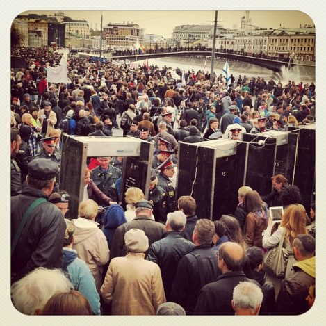 Muscovites protest on 6 May, the eve of the one year anniversary of Putin's return to the presidency.  The Kremlin struggles to maintain legitimacy among urban populations plugged into global flows of information (Image: Alexei Navalny's Livejournal)